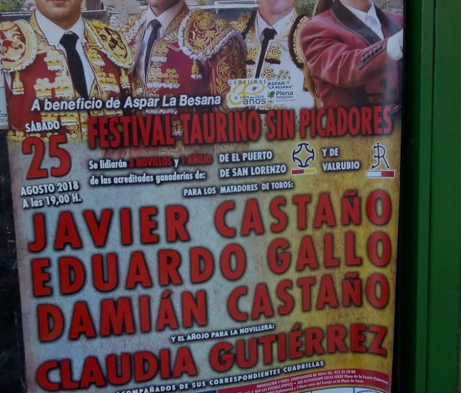 "Festival taurino benéfico en Topas a favor de Aspar ""La Besana"""