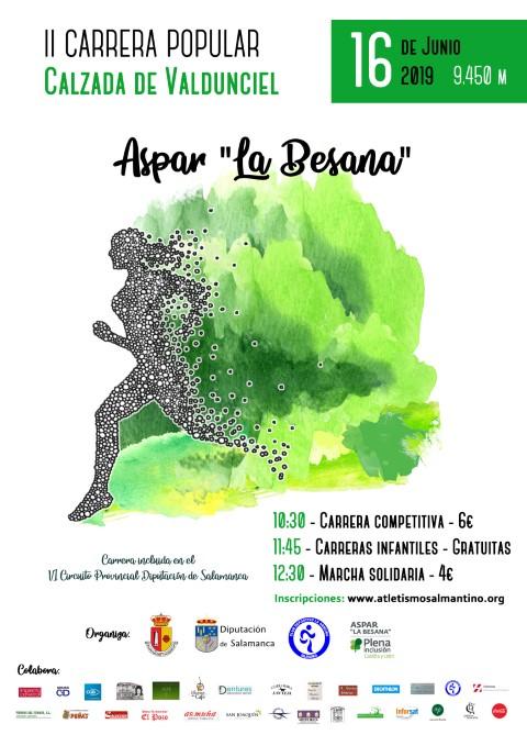 """Apúntate a la Carrera Popular y Marcha Solidaria de Aspar """"La Besana"""" para el próximo 16 de junio de 2019"""